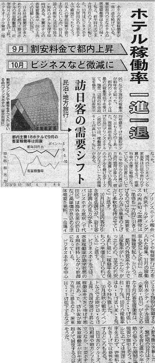 『ホテル稼働率一進一退』-日経MJ2016年12月を読んで