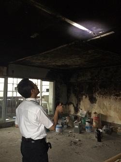 火災現場復旧のお見積でお伺いしました